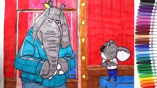 SING MOVIE Meena Elephant and Buster Moon Koala Coloring Pages | Speed Coloring Video for Kids