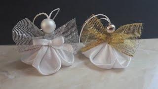 Kanzashi Angel / Satin Ribbon Angel / Christmas Ornaments / DIY Christmas Angel /