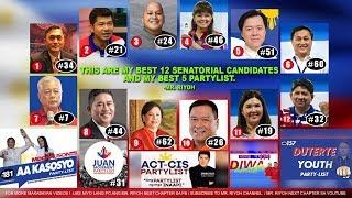 Ito ang Best 12 Senators at 5 Best Partylist sa Listahan ko - Mr. Riyoh