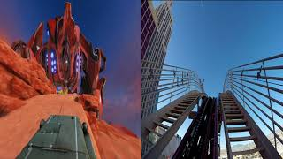 Roller coaster at New York-New York offering VR experience, watch the full ride