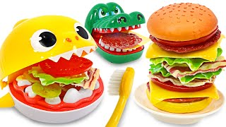 Make and eat delicious hamburgers with baby shark & Dentista! | PinkyPopTOY