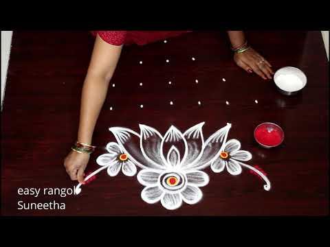 muggulu rangoli designs floral for diwali by easy rangoli