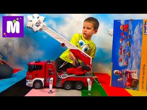 Пожарная машина Брюдер распаковка играем машинкой