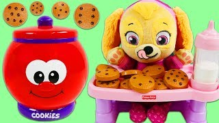 Paw Patrol Baby Skye Plays with Talking Count and Learn Cookie Jar Playset!
