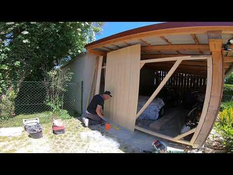 Holztor , Garagentor selber bauen / Cum se fac 2 usi din lemn la garaj