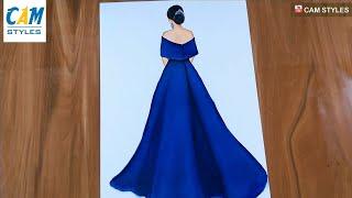 Blue Dress Drawing / Fashion Illustration Art / Fashion Design / Fashion Illustration