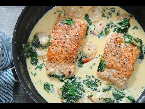 Creamy Garlic Salmon and Shrimp episode 385