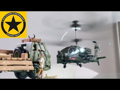 RC HELICOPTER Review Apache AH 64 RC Syma S109G with Gyro