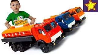 Машинки Игрушки КАМАЗ Самосвал, Молоковоз и Бортовой Обзор моделек Toys fot kids