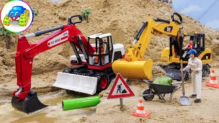 Forklift Construction Heavy Equipment Under Sand Water Pipe Repair Car Toy Play | Kid Studio