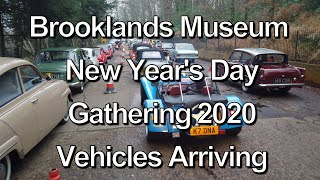 2020 Brooklands Museum New Year's Day Classic Car event Vehicles Arrivals (time lapse)in 4K.