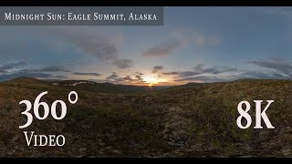8K 360° video of the midnight sun during solstice.