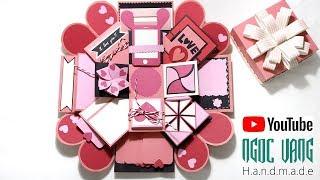Hướng Dẫn Làm LOVE BOX Hồng Pastel - (Explosion Box Tutorial) - NGOC VANG