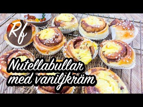 Nutellabullar eller Nutellasnäckor toppade med vaniljkräm. Nutella eller hasselnötscreme som fyllning och vaniljkräm som topping. Dubbelt så gott. Här med hemgjord vaniljkräm som blir mycket gott. Man kan också ta vaniljkräm från pulver.>