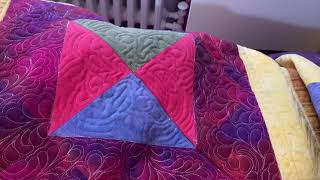 Joining My Half Square Trip Around The World Quilt