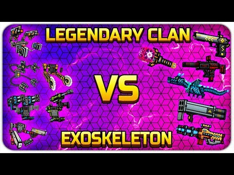Exoskeleton Weapons VS Clan Legendary Weapons - Pixel Gun 3D