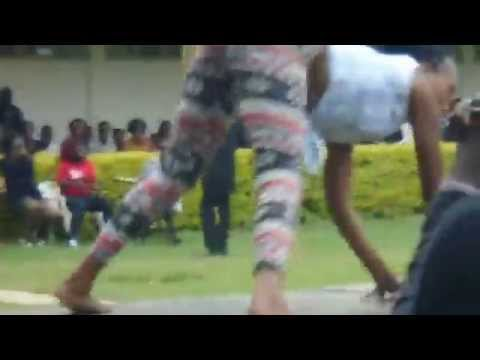 Kenyan collage girl dances the bumpa dance