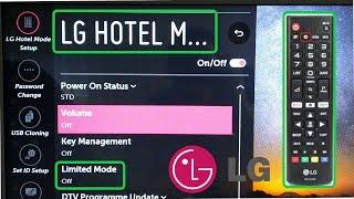 LG Smart TV Hotel Mode code WebOS / Limited Mode Settings