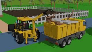 Tractors and Excavators Stories for Children - various vehicles