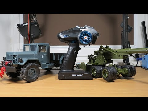 DumboRC radio with WPL B-1 + Winch, lights and animated canon