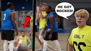 He ROCKED My Camera Man! 5v5 Men's League Basketball!