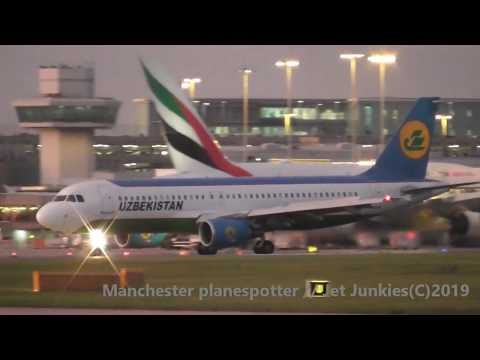 (HD) RARE Uzbekistan Airbus A320-214 UK-32018 On HY3565 At Manchester Airport On The 16/09/2019