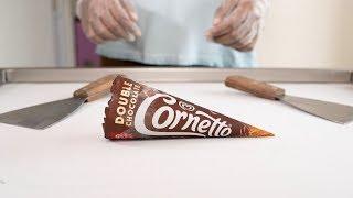 CORNETTO DOUBLE CHOCOLATE ICE CREAM ROLLS - SATISFYING ASMR