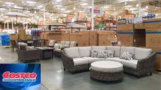 COSTCO PATIO FURNITURE SOFAS COUCHES ARMCHAIRS HOME DECOR SHOP WITH ME SHOPPING STORE WALK THROUGH