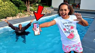 MY DAD'S iPhone X IN OUR SWIMMING POOL PRANK!!