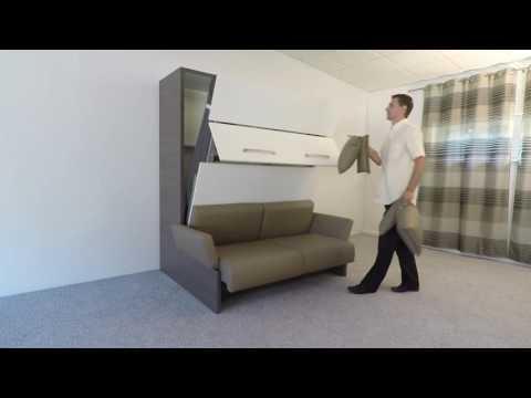 Schrankbett mit Sofa 160 x 200 cm Wall Bed Sofa Soft