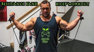 Intense 5 Minute Resistance Band Bicep Workout by Anabolic Aliens