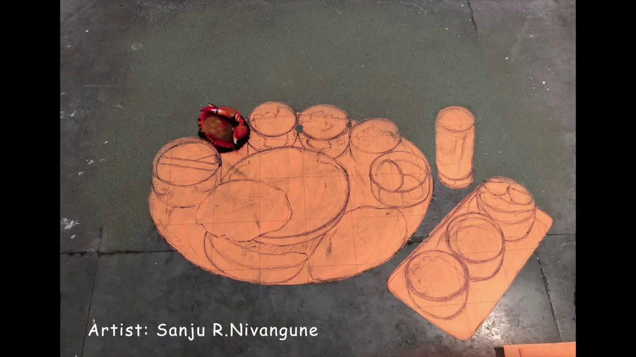 hyper realistic rangoli design by sanju nivangune