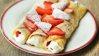 Strawberries & Cream Crepes In 15 Minutes Or Less.