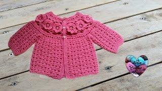 Brassière Bébé à Fleurs Crochet 2/3 / Baby Sweaters Flowers Crochet