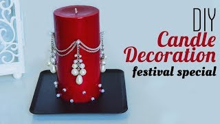 How To Decorate Candle With Pearl | Holiday Room Decor 2019| Christmas Decorations Ideas | Beads Art