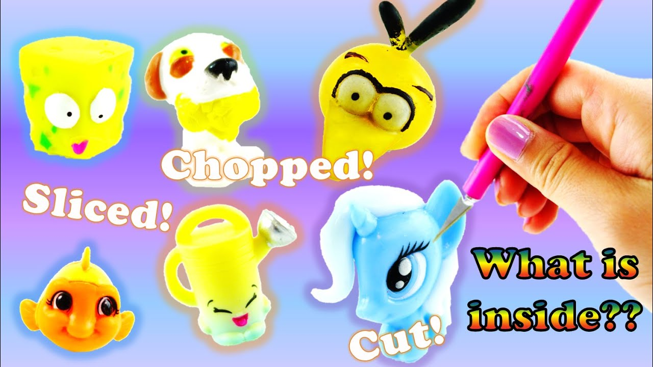 cutting open shopkins mlp fashem mashem splashlings and