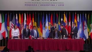 El Presidente Macri expone ante la Asamblea Anual del Bid, en Mendoza | Kholo.pk