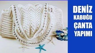 Şık Bir Çanta örmek İsterseniz Deniz Kabuğu Çanta Yapımı