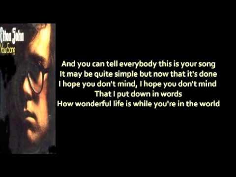 Elton John - Your Song (+ lyrics 1970)