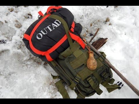 OUTAD 24L Taktischer Rucksack und Winter Camping Schlafsack
