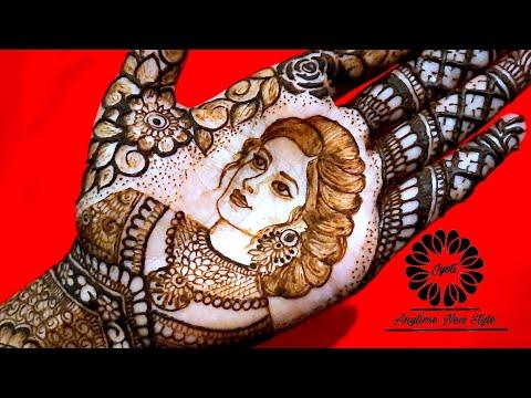 easy bridal mehndi design woman portrait by jyoti