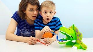 Динозавр Дино и его обед Весёлое развивающее видео для детей на детском канале Носики Курносики