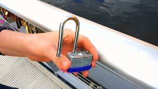Fun removing locks from love lock bridge