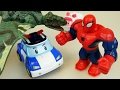 Download Video Spider Man And Robocar Poli Car Toys - Dinosaurs Attack