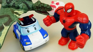 Spider Man and Robocar Poli car toys - Dinosaurs attack