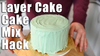 HOW TO TURN YOUR BOX CAKE MIX INTO A FANCY LAYER CAKE | CAKE MIX LAYER CAKE |
