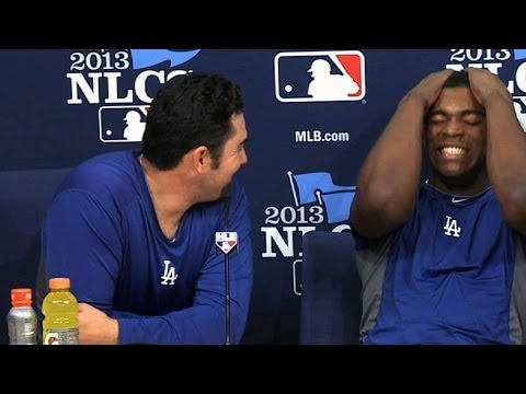 Adrian Gonzalez, Yasiel Puig have fun with media in two languages