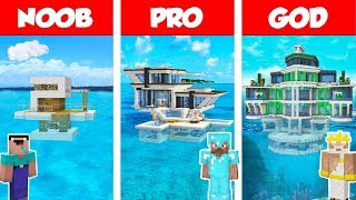 Minecraft NOOB vs PRO vs GOD: MODERN HOUSE ON WATER BUILD CHALLENGE in Minecraft / Animation