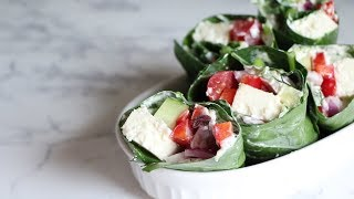 Keto Vegetarian Greek Collard Wraps