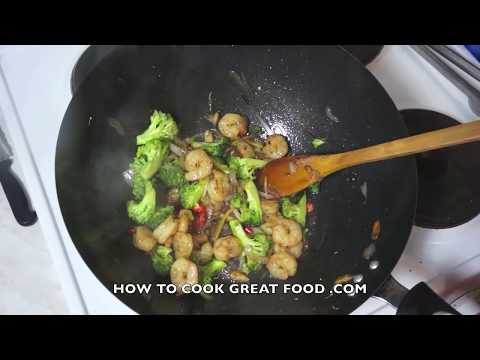 Video Prawn & Broccoli Stir fry Recipe  - Asian wok cooking Shrimp